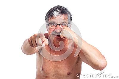 Aggressive senior man