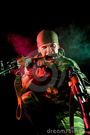 Aggressive soldier with weapon