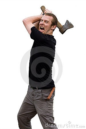 Aggressive young man with ax