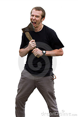 Aggressive young man with ax on the white