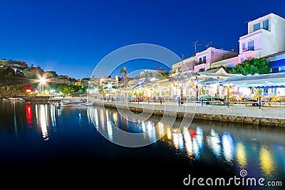 Agios Nikolaos city at night on Crete