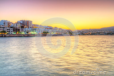 Agios Nikolaos city at sunset on Crete