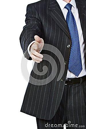 Agitação da mão do homem de negócio
