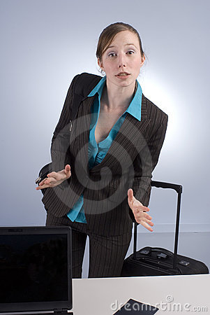 Agitated Business Woman at Check-in
