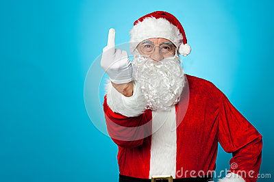 Agitated Santa showing his middle finger