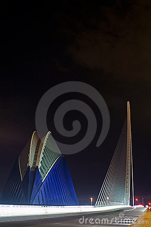 Agora and bridge CITY OF ARTS & SCIENCES VALENCIA Editorial Stock Photo