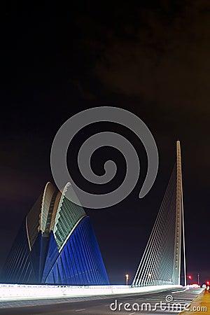 Agora and bridge CITY OF ARTS & SCIENCES VALENCIA Editorial Stock Photo