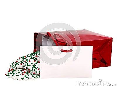 Agregue el texto (tarjeta y las galletas del regalo) en blanco