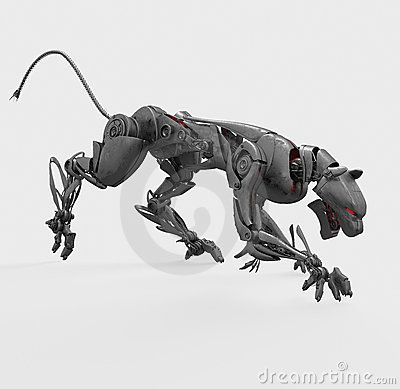 Agressive metal cyborg panther