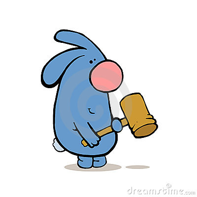 Agressive rabbit with hammer