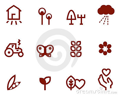 Agricultura & ícones do cultivo ajustados