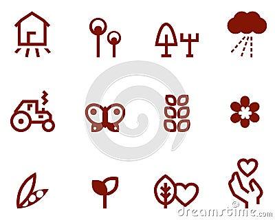Agricultura y iconos del cultivo fijados