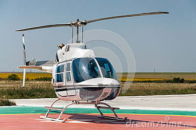 Agricultural helicopter on heliport
