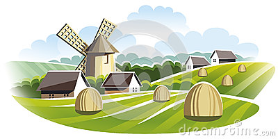 Village landscape. Windmill in field.