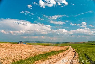 Tractor in the field and blue sky with white cloud