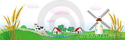 Agriculture backdrop with houses, cow and wheat