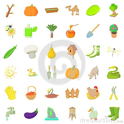 Agriculture farm icons set, cartoon style Vector Illustration