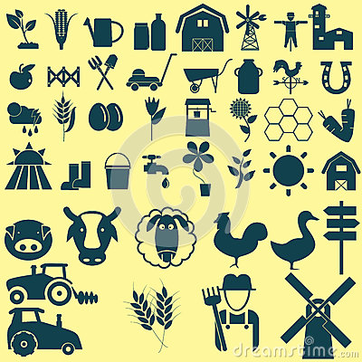 Free Agriculture Icons Set Royalty Free Stock Image - 44738916
