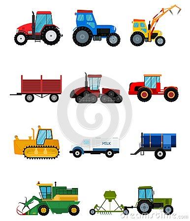 Agriculture industrial farm equipment harvest machine tractors combines and machinery excavators vector illustration. Vector Illustration