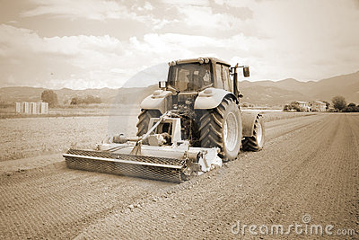 Agriculture, vintage farming  tractor