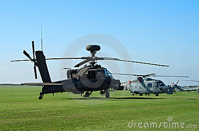 AH-64d and Westland Lynx on the flight lane Editorial Stock Photo