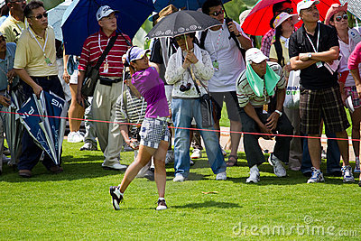 Ai Miyazato finishes her swing at LPGA Malaysia Editorial Photography