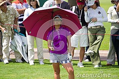 Ai Miyazato looks on her opponent at LPGA Malaysia Editorial Stock Image