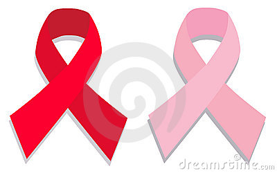 Aids and pink breast cancer ribbon