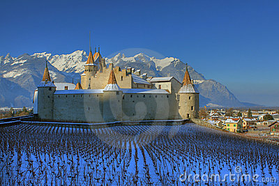 Aigle castle in winter, Switzerland