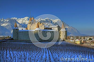 Aigle castle in winter, Switzerland