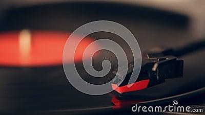 Aiguille de plaque tournante et plan rapproché de disque de vinyle clips vidéos