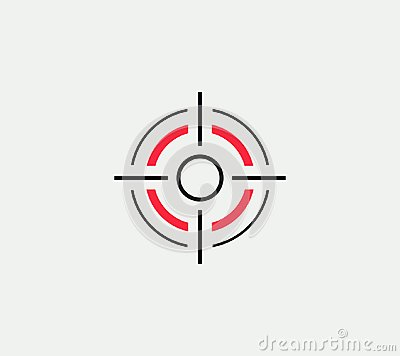 Aim vector linear stylized icon, goal abstract sign, target symbol, gun business logo template, vector illustration on Vector Illustration