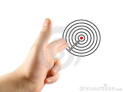 Aiming hand and target