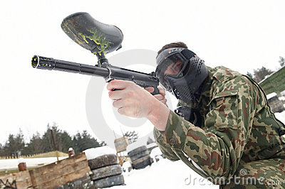 Aiming Paintball extreme sport game