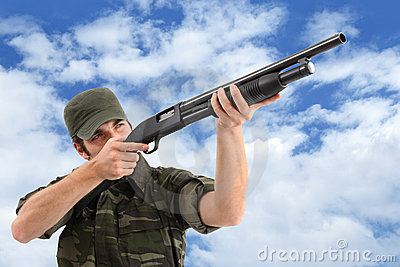 Aiming And Shooting With Rifle