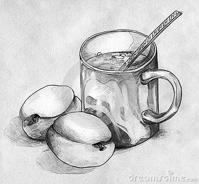 Ainda vida com pêssegos e uma caneca de café ou de chá