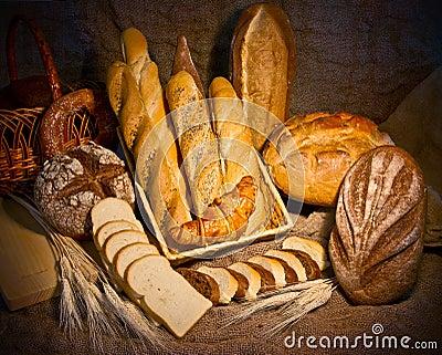 Ainda vida com tipo diferente do pão