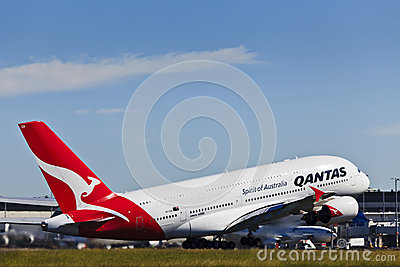 Air 380 Qantas day up Editorial Stock Photo