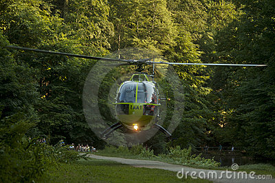 Air Ambulance Action in Bristol Oldbury Court Park Editorial Stock Image