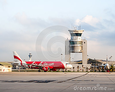 Air Asia s aircraft landed at LCCT airport, Malaysia Editorial Photography