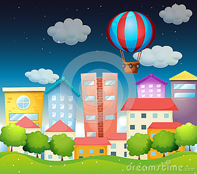 An air balloon at the city