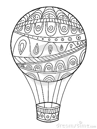 Free Air Balloon Pattern Abstract Graphic Art Black White Doodle Illustration Royalty Free Stock Images - 75409169