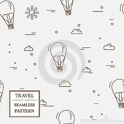Free Air Balloon Seamless Pattern. Thin Line Icon. Vector. Royalty Free Stock Photo - 64412325