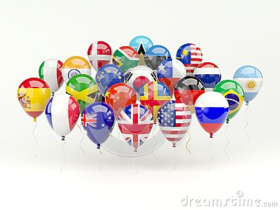 Air balloons with flags