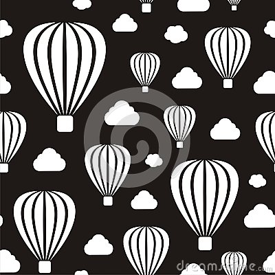 Air balloons seamless pattern