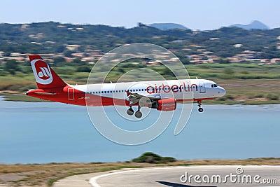 Air Berlin Airbus A320 landing Editorial Stock Image