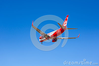 Air Berlin aircraft landing on the airport Editorial Photo