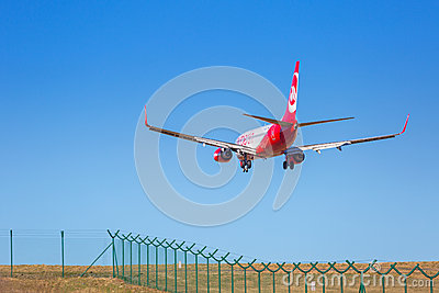 Air Berlin aircraft landing on the airport Editorial Stock Image