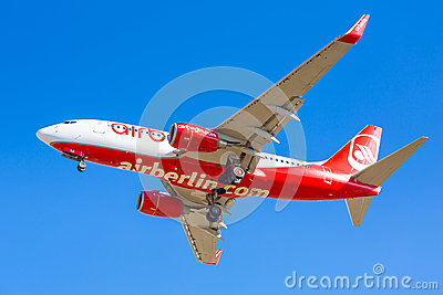 Air Berlin aircraft landing on the airport Editorial Stock Photo