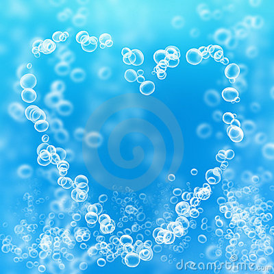 Air bubbles in the shape of a heart